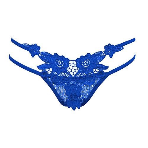 Ayaya Women Sexy Lace G String Underwear One Size (Blue)