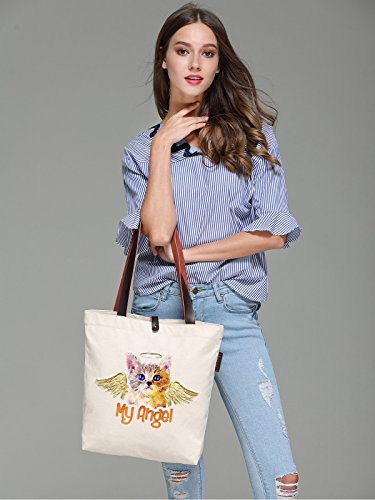 So'each Women's My Angel Cat Art Graphic Canvas Handbag Tote Shoulder Bag