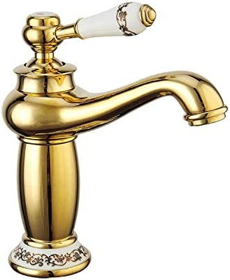 DXX-HR バスルームのシンクは盆地シンクホットコールドタップミキサー流域の真鍮シンクミキサータップ非震とうすべての銅ヨーロピアンスタイル流域の蛇口バスルームホットとコールド洗面台の蛇口スロット付きバスルームをタップ