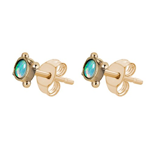Laura Lee Jewellery femme  9 carats (375/1000)  Or jaune|#Gold Rond   Bleu Opal FINEEARRING