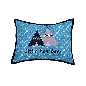 Bacati Woodlands Boys Cotton Dec Pillow, Aqua/Navy/Grey