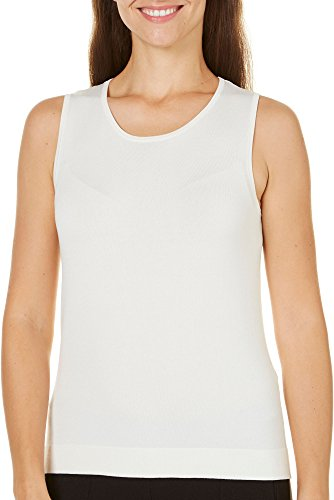 Ribbed Silk (August Silk Womens Ribbed Shell Tank Top X-Large White)