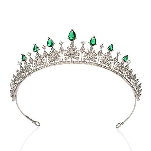 SWEETV Cubic Zirconia Wedding Tiara for Bride - Princess Tiara Headband Bridal Crown, Bridal Hair Accessories for Women, Emerald (For Jewelry Sets Emerald Women)