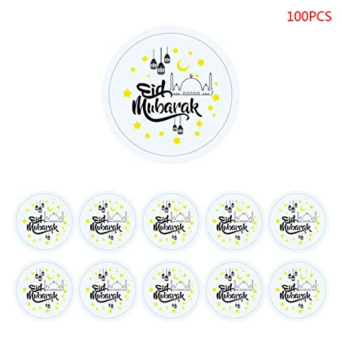 Hardli 100 Pcs/Set Eid Crafts,Mubarak Stickers Decorations Cards ,DIY Cupcakes Picks Letter Pattern Sticker ,Party Wedding Festival Supplies ()