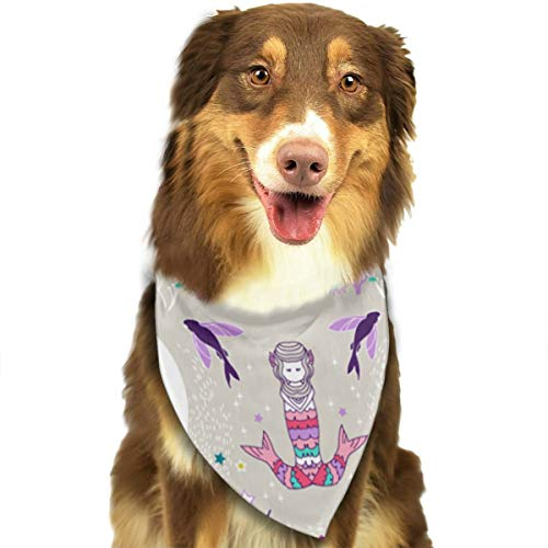 (ZZJIAK Dog Bandana Scarf Mermaid Lullaby Small Candy Triangle Bibs Printing Kerchief Set Accessories Dogs Cats)