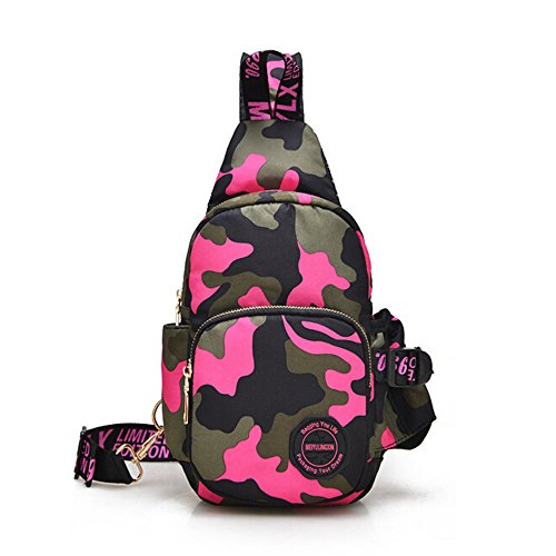 Ezyoutdoor Unisex Pink Camouflage Outdoor Sling Shoulder Backpack Chest Bags Crossbody Backpack for Hiking School Camping Travel - Pocket Hip Aero