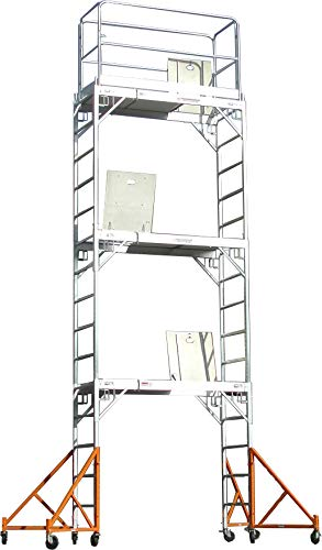Aluminum Deck Hatch - Aluminum Scaffolding Rolling Tower 17' Standing High with Hatch Decks & Gaurd Rail U Locks CBM1290