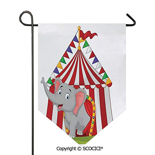 (SCOCICI Easy Clean Durable Charming 28x40in Garden Flag Illustration of Happy Elephant in Colorful Circus Tent Carnival Entertainment, Double Sided Printed,Flag Pole NOT Included)