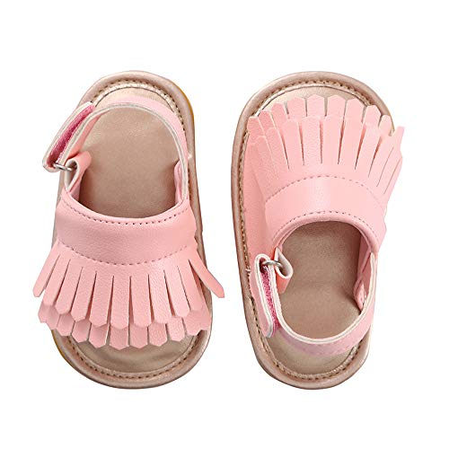 Baby Sandal Tassels Summer Lace-up Toddler Gladiator Shoes 0 6 12 18 Months (13cm Sole(12-18 Months), Pink)