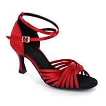 KAI-ROAD Women's Rosy-Red Satin Dance Sandal Salsa Ballroom Dance Shoes