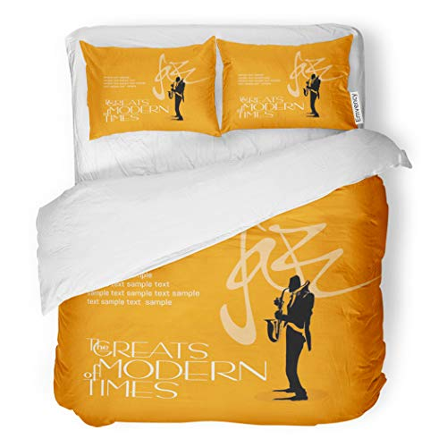 Opus Queen Bed - SanChic Duvet Cover Set Chorus Jazz Music Bebop Calm Composition Down Drawing Decorative Bedding Set with 2 Pillow Cases Full/Queen Size