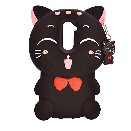 XKAUDIE(TM) 3D black Lucky Fortune Cat Kitty with Cute Bow Tie Silicone Rubber Phone Case Cover for ZTE ZMAX Pro/Carry Z981