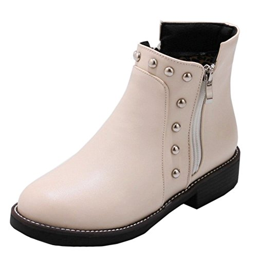 Bootie KemeKiss Fashion Side Women Zipper Beige xpwn68zqFw