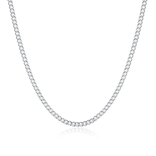 925 Sterling Silver Plated 2mm Rolo Chain Thin & Strong Necklace for Women, 24