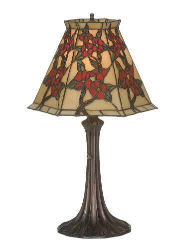 Victorian Tiffany Floral Asian Oriental Peony Accent Table Lamp ()