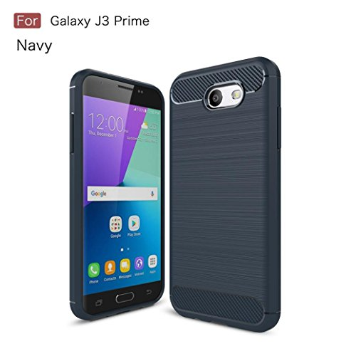 Price comparison product image Coohole New Fashion Hybrid ShockProof Hard Protective Case Cover for Samsung Galaxy J3 Prime 2017 (Navy)