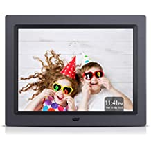 APEMAN Digital Photo Frame 8 Inch 4:3 High Resolution Video MP3 Player Calendar Function Support USB SD Card with Remote Controller with Gift Package Design in Black