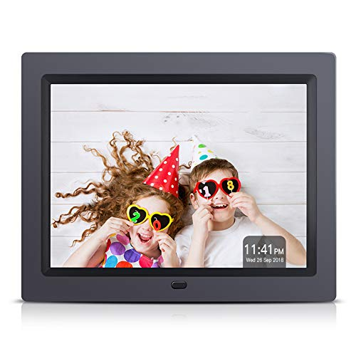 APEMAN Digital Photo Frame 8 Inch 4 : 3 High Resolution Video MP3 Player Calendar Function Support USB SD Card with Remote Controller with Gift Package Design in Black