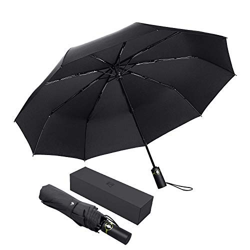 Reinforced Fiberglass Ribs - TF Automatic Umbrella Windproof Large Rain Umbrella Compact Folding Men Business Travel Golf Umbrella with Reinforced Fiberglass Ribs, Black