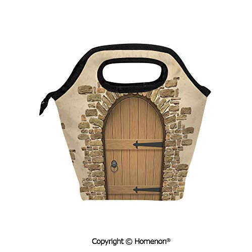 Insulated Neoprene Soft Lunch Bag Tote Handbag lunchbox,3d prited with Wine Cellar Entrance Stone Arch Ancient Architecture European Building,For School work Office Kids Lunch Box & Food Container