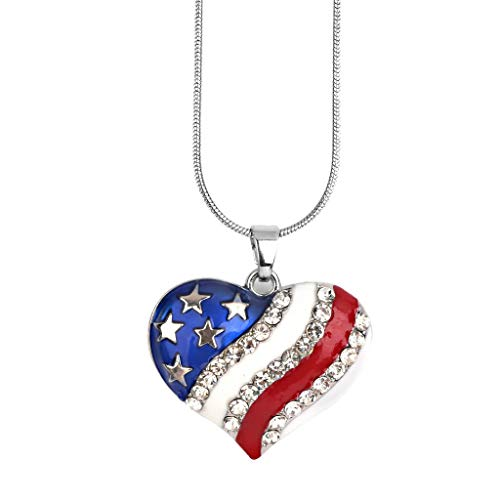 Crystal Diamante Love Heart American USA Flag Pendant Patriotic Bib Necklace Jewelry Crafting Key Chain Bracelet Pendants Accessories Best