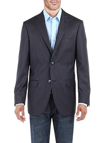 DTI BB Signature Men's Dress Suit Jacket Two Button Check Modern Fit Blazer Coat (54 Regular US / 64R EU, French Blue)