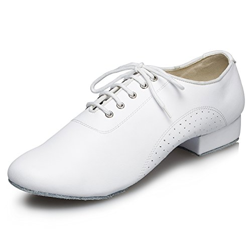 CRC Men's Stylish Round Toe Lace Up White Leather Salsa Tango Ballroom Morden Latin Jazz Rumba Professional Dance Shoes 10.5 M US by CRC