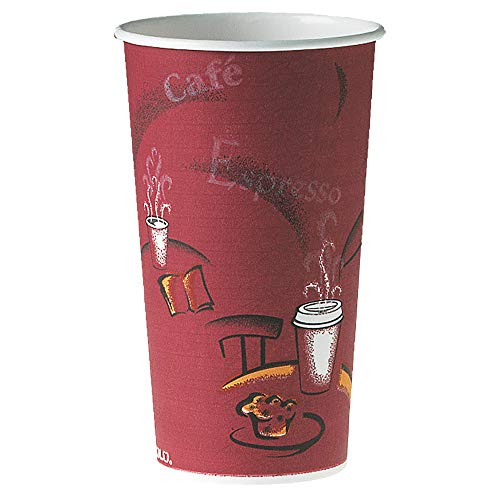SOLO Cup Company 420SI Polycoated Hot Paper Cups, 20 oz, Bistro Design (Case of 600)