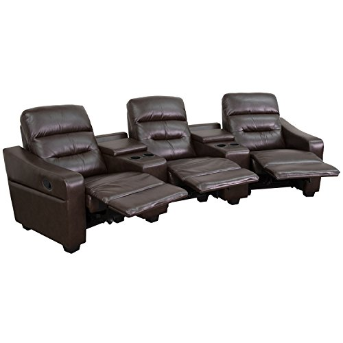 Flash Furniture Futura Series 3-Seat Reclining Brown Leather Theater Seating Unit with Cup Holders