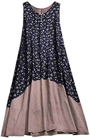 Kekebest Women, Vintage Patchwork Casual Loose Boho Long Plus Size Retro Maxi Dress