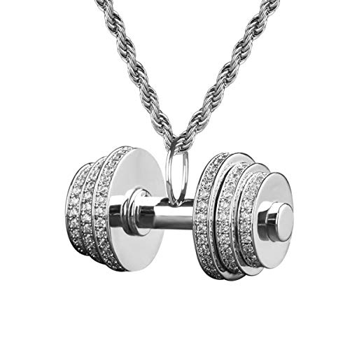 (KRKC&CO Iced Out Dumbbell Pendant Necklace, with 3mm 22