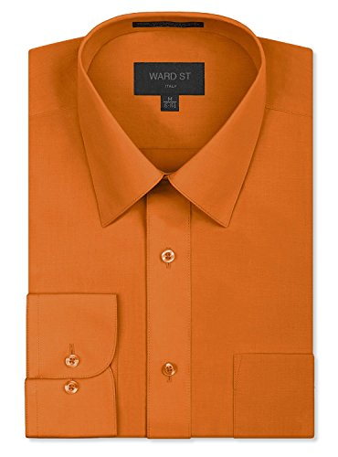 Ward St Men's Regular Fit Dress Shirts, Medium, 15-15.5N 32/33S, - Orange T-shirt Reversible