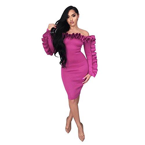Vestido Word De Fiesta Vestidos Loto Vestido Fiesta Collar Rosa De Mujer JIALELE Nalgas Hoja Vestidos Para De Con Un Mujer qaP1wtn