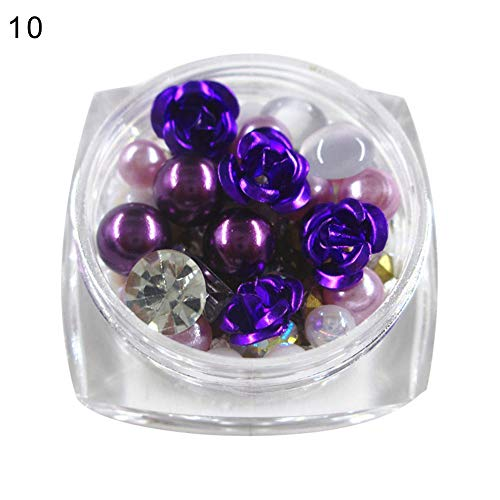 Acamifashion Multi-shape Rose Flower Faux Pearl Rhinestone 3D Nail Art DIY Manicure Decor - Purple]()