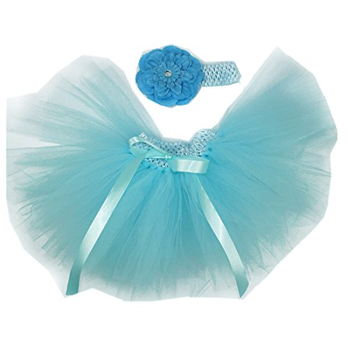 (MizHome Newborn Baby Girls Birthday Layered Tulle Tutu Skirt Flower Peony Headwear Outfits Lake Blue)