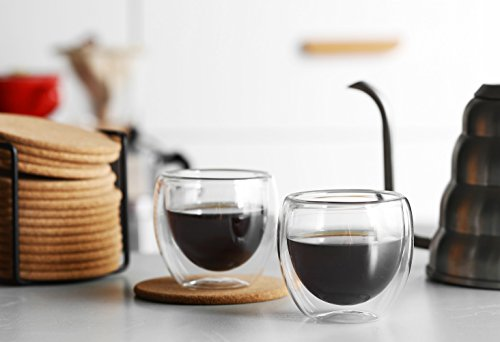 Espresso Glass Shot Cup Double Wall Thermo Insulated, 5.1 ounces(150ml) Set of 4 by LAUCHUH (Image #5)
