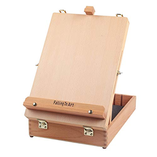 (Falling in Art Artist Beech Wood Table Sketch Easel Box Divided with 5 Compartments for Storage)