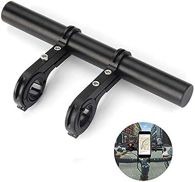 CHUER Extensor de Manillar para Bici Tel/éfono 20CM Soporte Manillar Bicicleta Soporte de Extensi/ón con Abrazaderas Dobles Soporte para Luz de Bicicleta MTB GPS Veloc/ímetro