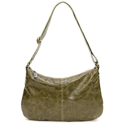 Green distressed Italian leather-Crossbody Hobo by Brynn Capella Handbags