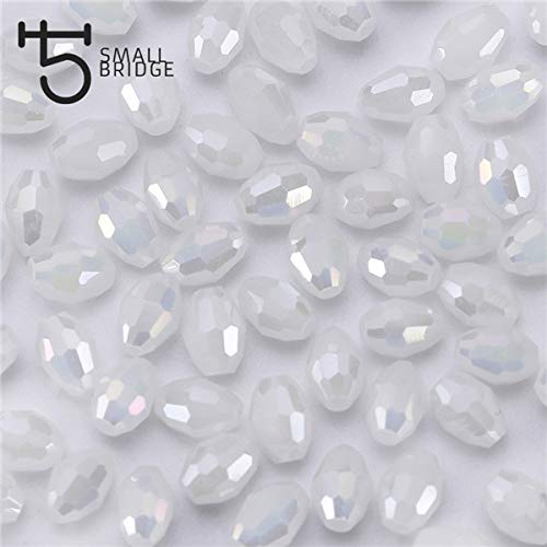Pukido 46mm Czech Mix Color Oval Glass Beads for Jewelry Making DIY Accessories Small Loose Faceted Crystal Rice Beads Y101 - (Color: Y115ab, Item Diameter: 4x6 mm 70pcs)