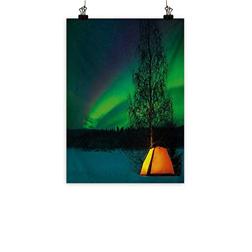 Iridescent cloud Aurora Borealis Abstract Painting Camping Tent Under Magnetic Field Nature Picture Natural Art Lime Green Dark Blue Earth Yellow 20