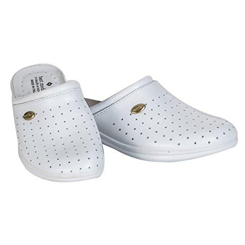 Seba 0250CE Sockel Leder gelocht, Weiß, Größe 41