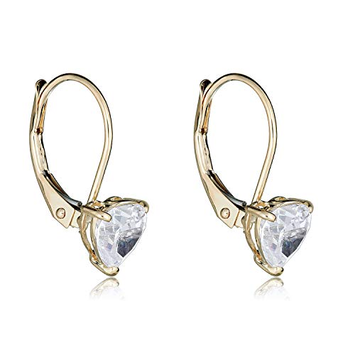 (10K Yellow Gold 6mm Heart Simulated Diamond CZ Lever-back Earrings)