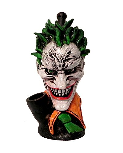 Big Head Evil Clown Smoking Pipe - Handmade Tobacco Pipe - Hand Pipe - Bowl - Collectibles - Green Hair - Fan Art - Villain - Character Pipe -