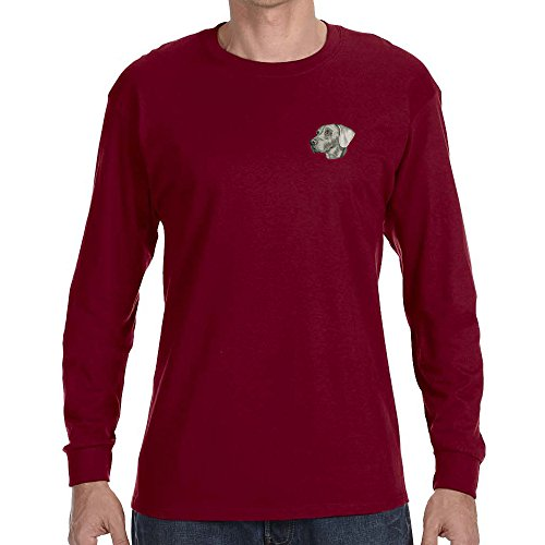 Breed Weimaraner T-shirt - Cherrybrook Dog Breed Embroidered Long Sleeve Mens T-Shirts - Large - Garnet - Weimaraner