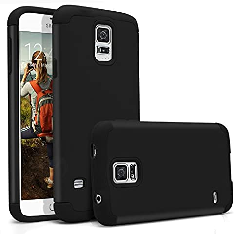 Galaxy S5 Case, MagicMobile Hybrid Ultra Protective Thin Armor Defender Case For Samsung Galaxy S5 Shockproof Rubber Rugged Skin Hard Dual Cover High Impact Case for Galaxy S5 (2014) [Black / (Best Samsung S5 Case)