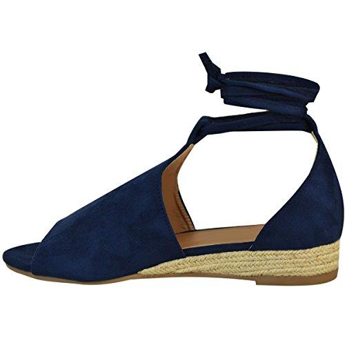 Fashion Thirsty Espadrilles à Talons Compensés - à Lacets/Plateforme Confortable - Femme Imitation suède bleu marine UEhar8E