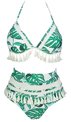 COCOSHIP Tropics Green Palm Leaves White Mesh Striped High Waist Bikini Set Tassel Fringe Top Halter Straps Swimsuit Swimwear 16