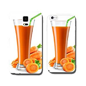 Glass of carrot juice with fruit isolated on white. cell phone cover case iPhone6