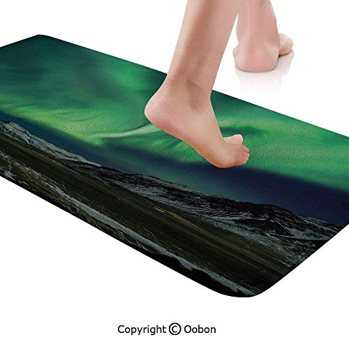 (Northern Lights Rug Runner,Flash of Aurora Polaris Above Mountains in Night Picture,Plush Door Carpet Floor Kitchen Decor Mat with Non Slip Backing,71 X 24 Inches,Jade and Army Green Blue Grey)